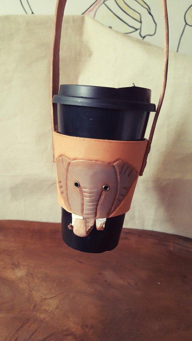 小灰大象 咖啡飲料環保純牛皮杯套 隨行杯 提袋 (情人、生日送禮)