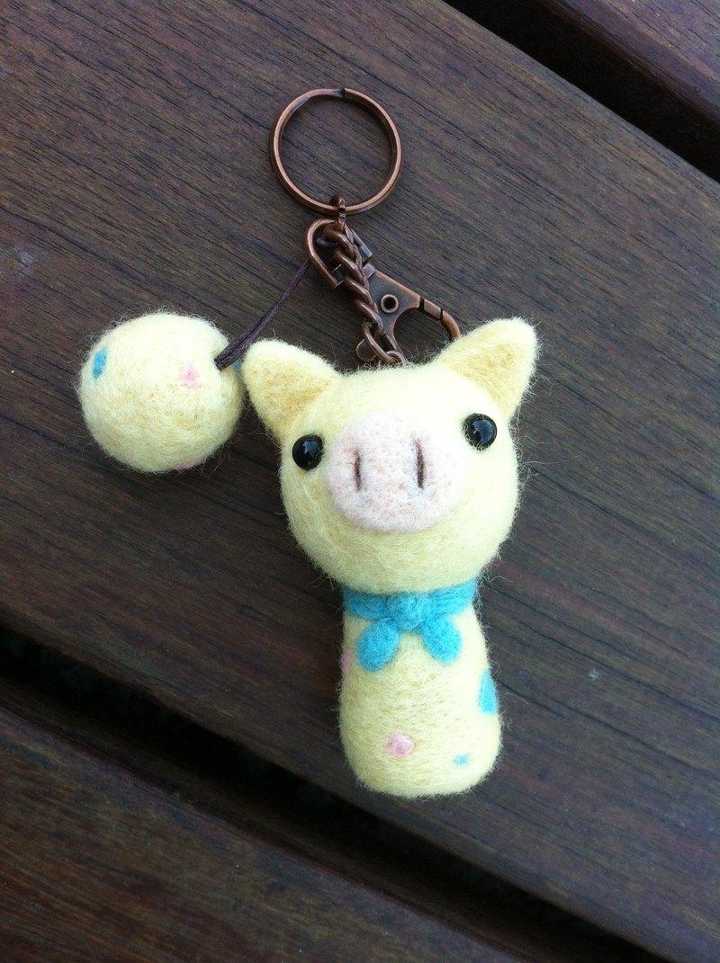 羊毛氈鵝黃豬頭鑰匙圈