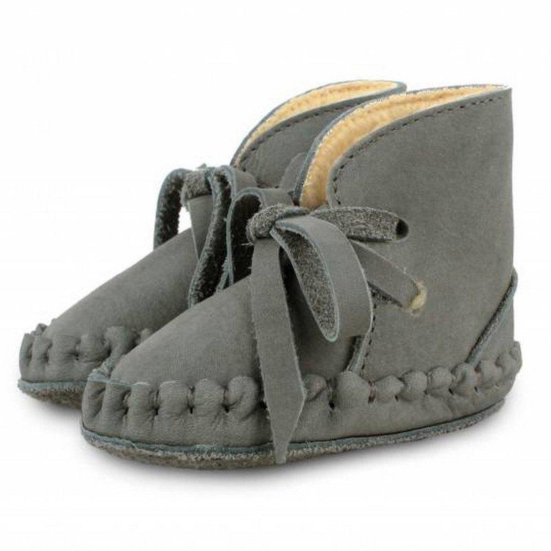 荷蘭 Donsje 真皮內刷毛蝴蝶結綁帶靴 童鞋 深灰0570-NL122-NL122