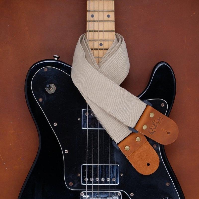 米色牛仔布吉他帶