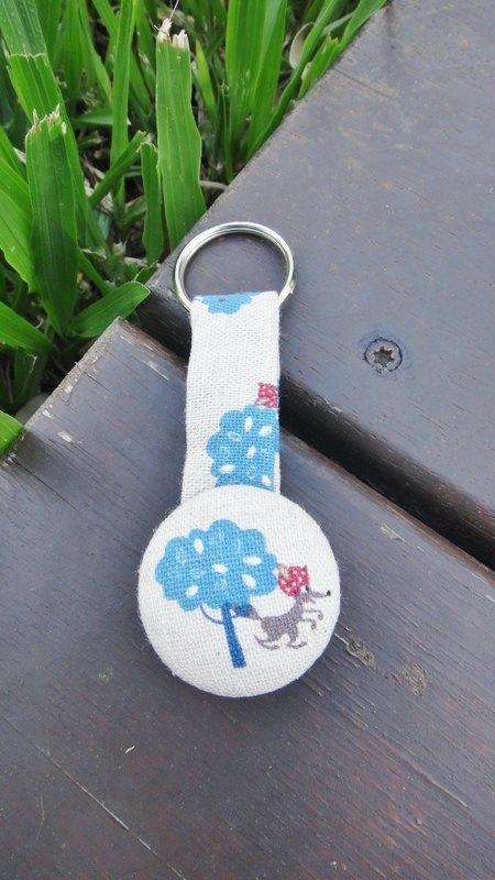 手感布釦鑰匙圈 - Blue tree