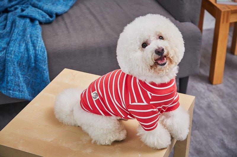 【毛公爵】寵物衣 舒適條紋棉T 橘紅