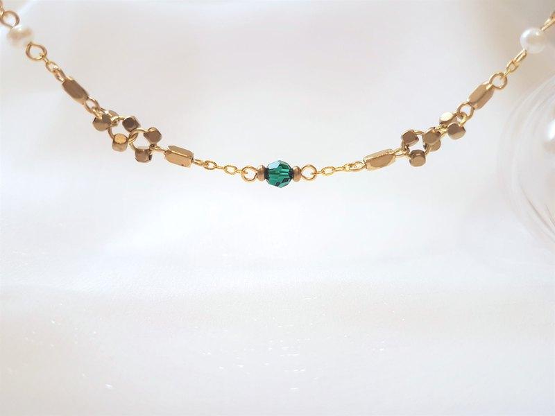拉斐爾 ‧ 水晶 珍珠 黃銅 古典 祖母綠 細手鍊