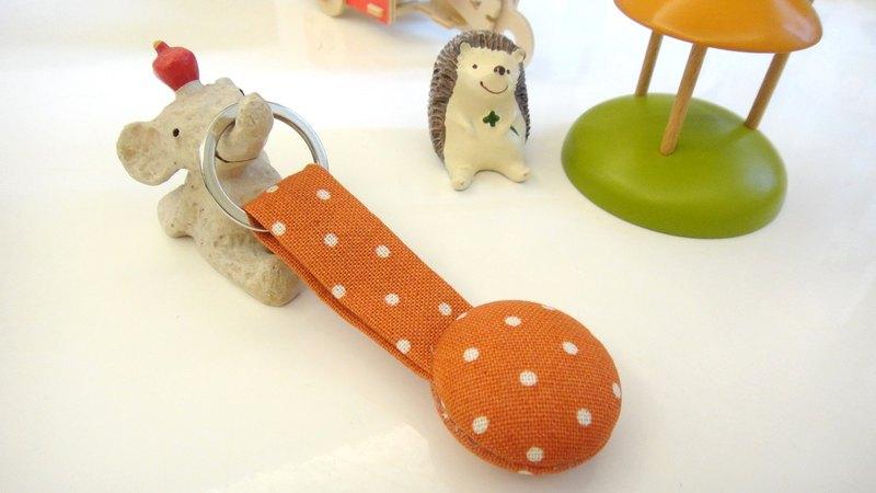 手感布釦鑰匙圈 - 橘水玉