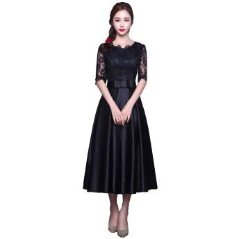 [FUPUSUN] ドレス 結婚式 フォーマル ブラック 高級感 体型 カバー ウエスト リボン (ブラック, M)