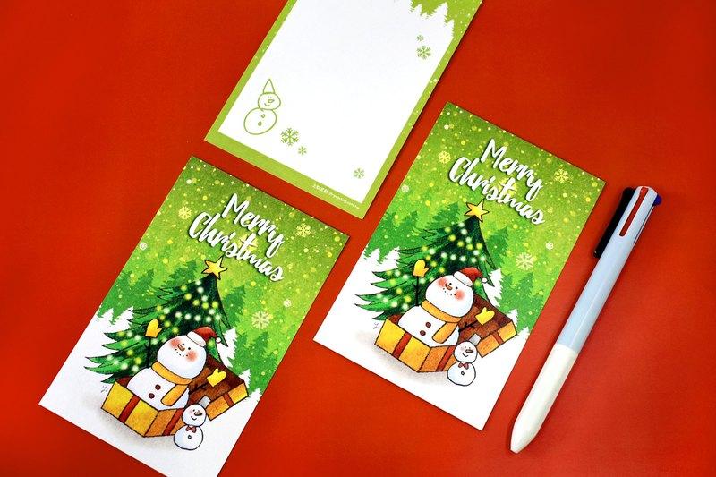 綠色聖誕 驚喜雪人~聖誕卡