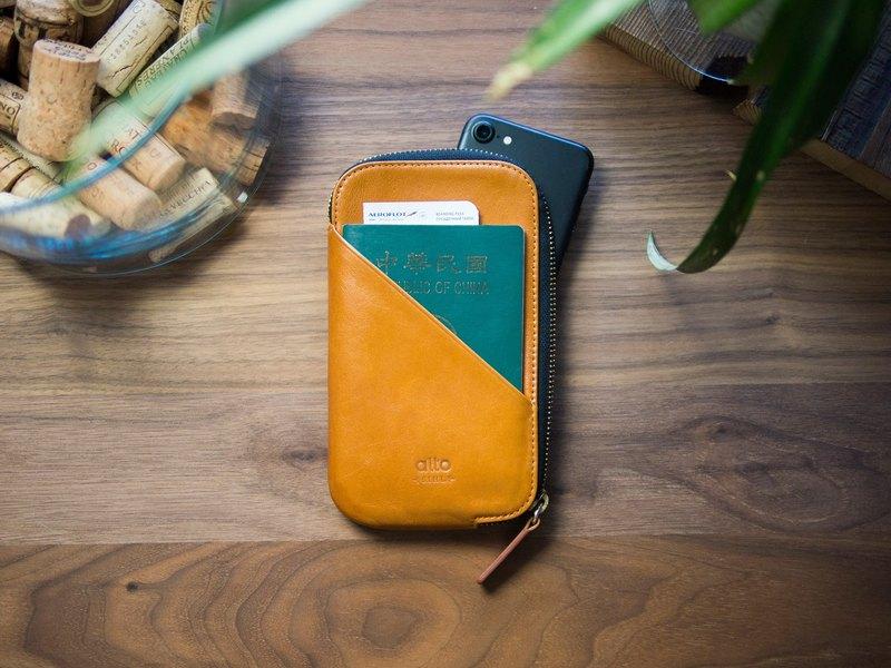 Alto 皮革手機收納包 / 護照包 - 焦糖棕