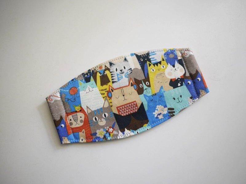 手工訂製口罩=貓咪開週會=藍綠=日本布料