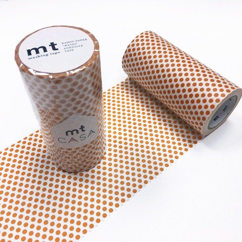 mt CASA tape 100mm和紙膠帶【水玉點點-柑橘 (MTCA1100)】