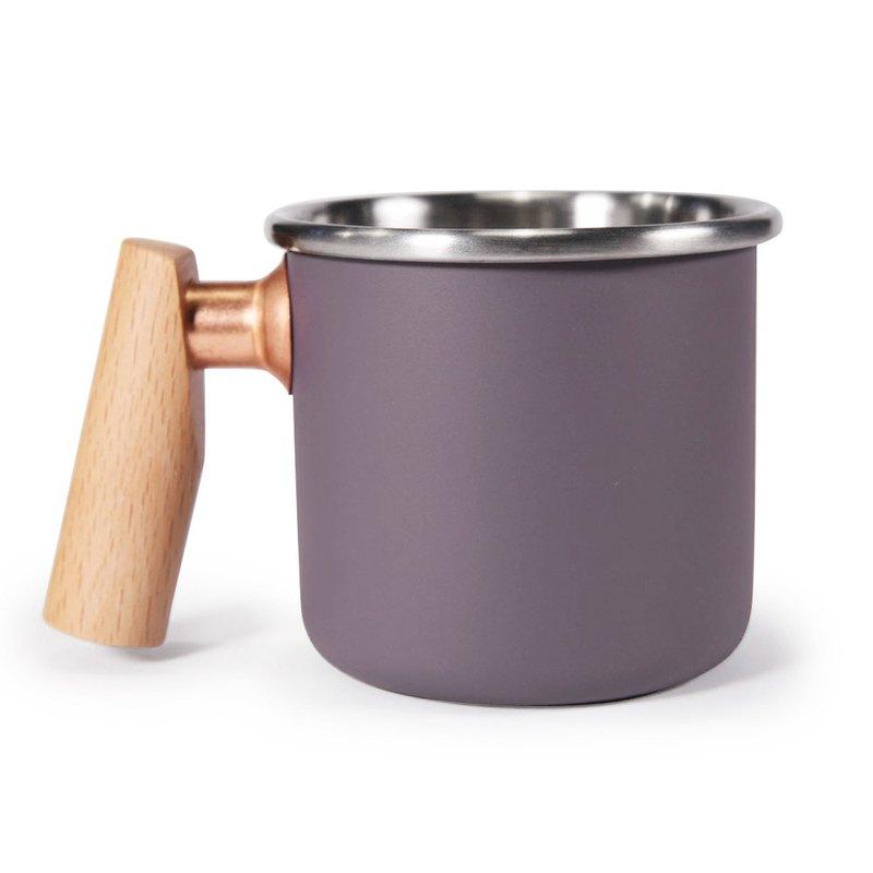 木柄 白鐵杯 400ml (黛紫) 聖誕節 情人節  紀念  禮物