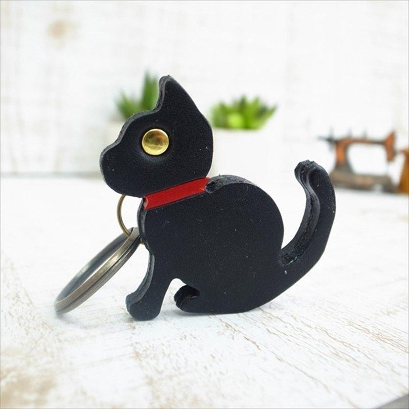 [日本製造的皮革產品]擁有3隻貓ac-32-c的創作者的貓圖案鑰匙鏈[請從以下產品類型中選擇顏色]