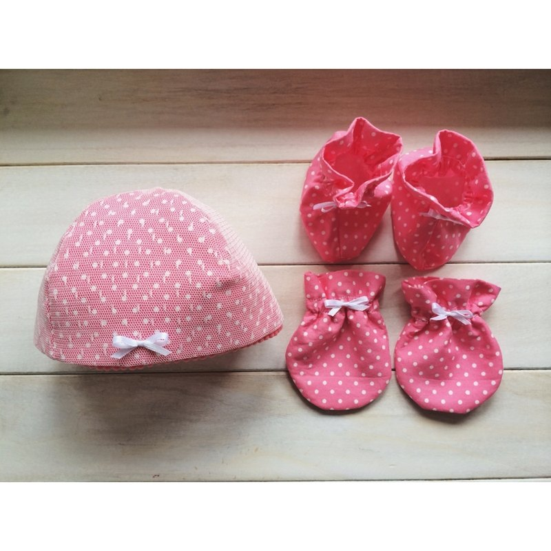 MIT手作 初生粉紅點點女寶寶 滿月彌月禮物 附包裝