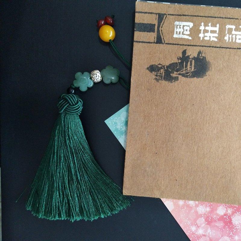 荷塘月色─中國風車載掛飾 包包掛飾 古典墨綠色流蘇禮物