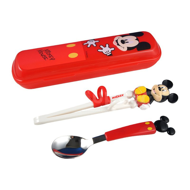 Disney - 立體學習筷湯匙組附收納盒(米奇)