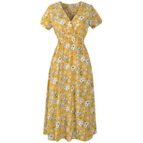 cheelot 女性シフォンフローラル半袖Vネックビーチラウンジボホドレス Yellow XS