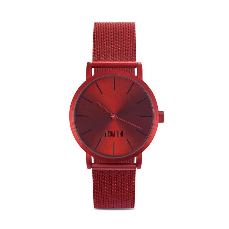 香港VISUAL TIME紅色輕奢網紅時尚潮流石英防水情侶中性男女手錶