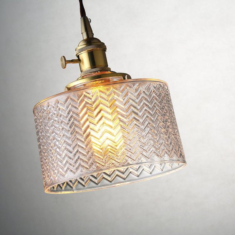 【塵年舊飾】懷舊銅製玻璃吊燈PL-1660附燈泡