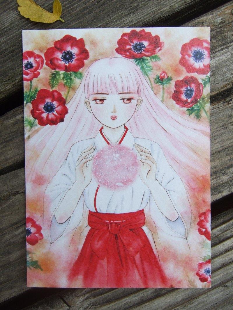 紅蓮女孩 日系風格 紅色銀蓮花 手繪水彩插畫明信片-260g水彩紙