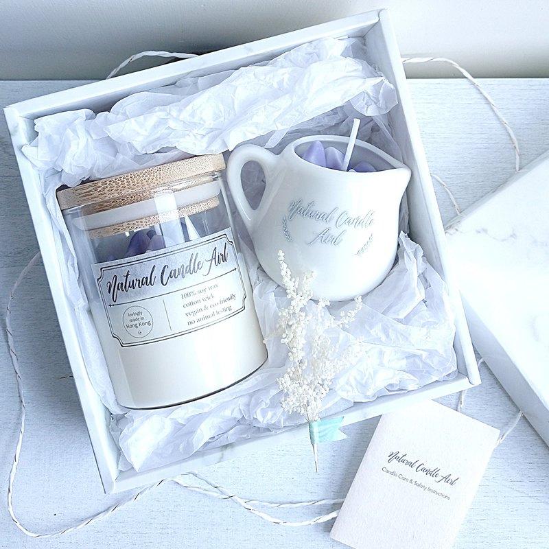 水晶原石 2件禮盒裝   天然精油香氛大豆蠟燭 薰衣草   生日禮物