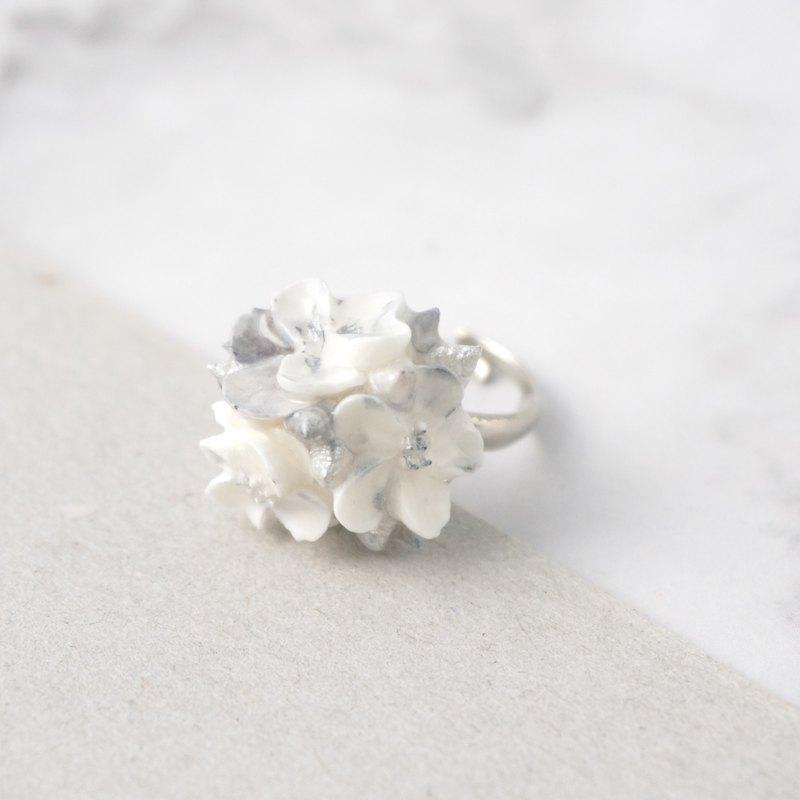 大理石紋花球戒指 銀色款 手工黏土裱花 可客製