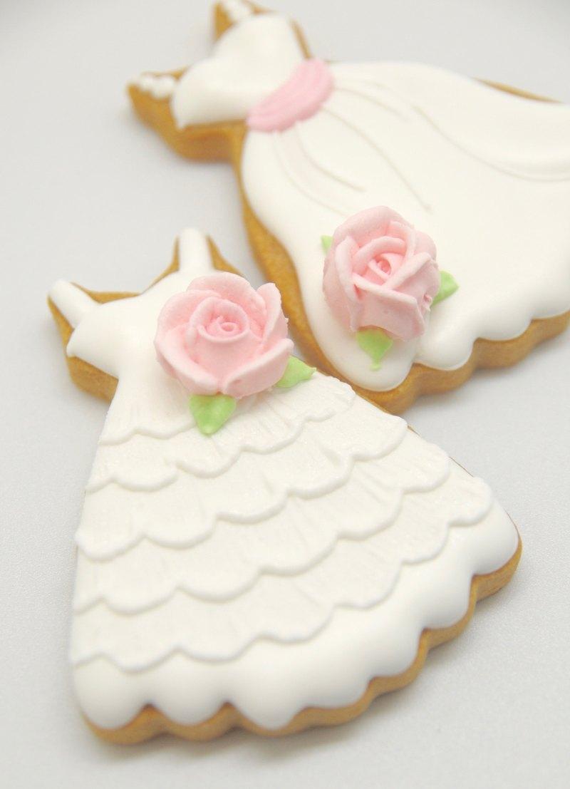 白色婚禮餅乾(20片)純白禮服 糖霜餅乾 新人婚禮 婚禮小物 TFD
