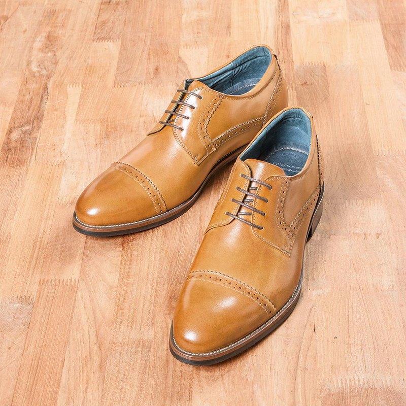 Vanger紳高.橫紋雕花徳比增高鞋 Va251褐色