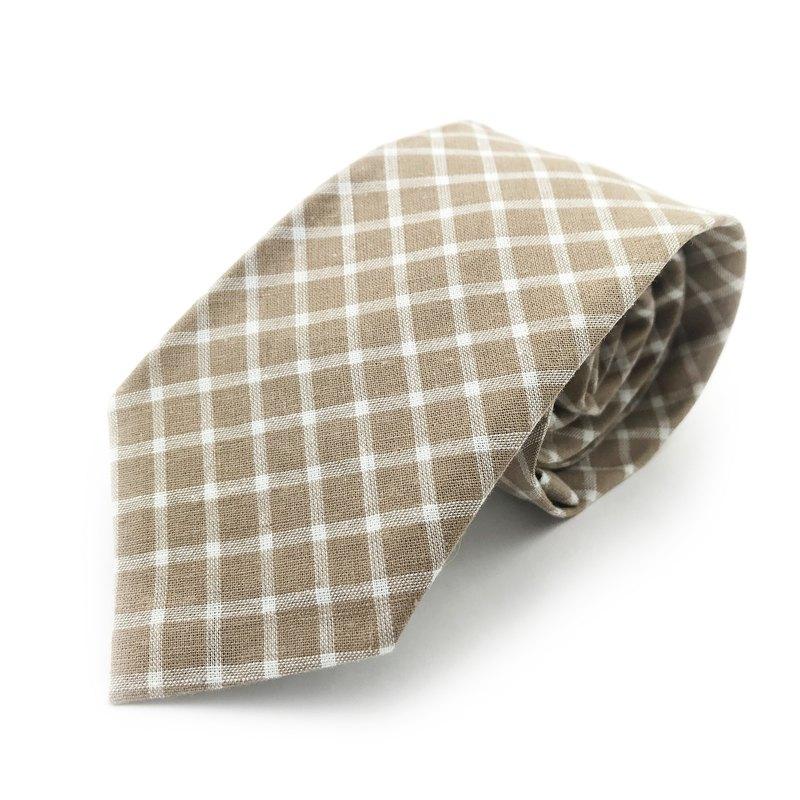 CAVEMAN領帶 - 米色格紋