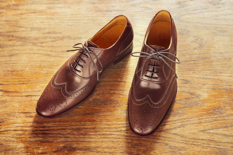 3/4雕花鋸齒翼紋牛津鞋 可可咖 紳士鞋 婚鞋 皮鞋 男