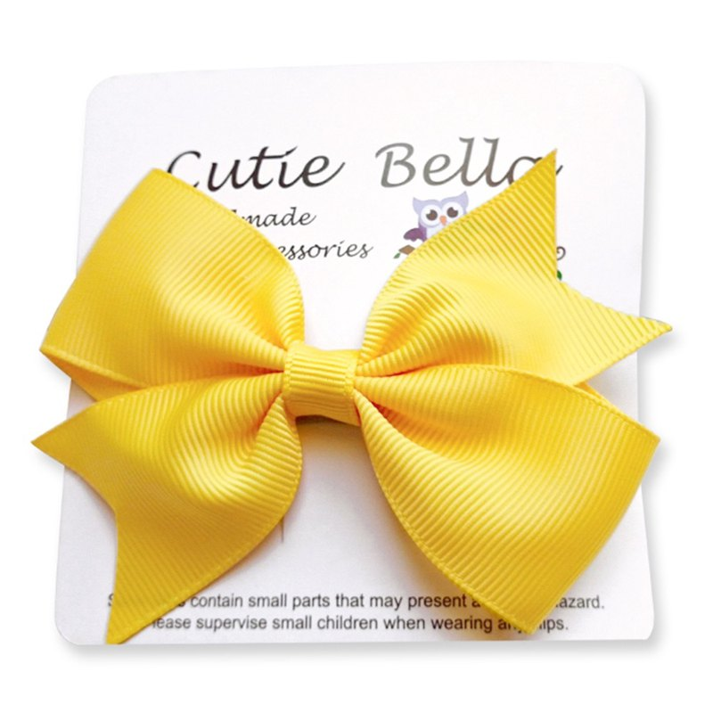 Cutie Bella 夢幻蝴蝶結手工髮飾全包布 Bow Stretch髮夾-Sunny