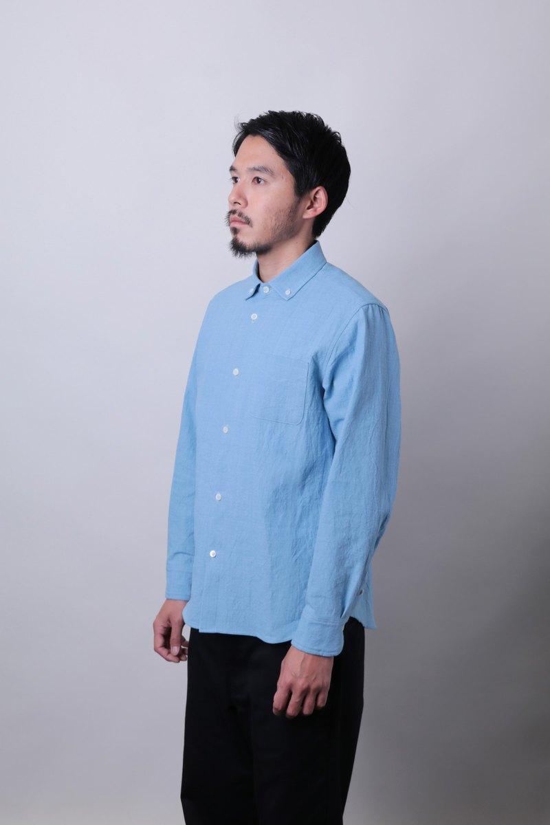 在日本製作的Bibiku夾和針織薄色淺藍色按鈕襯衫