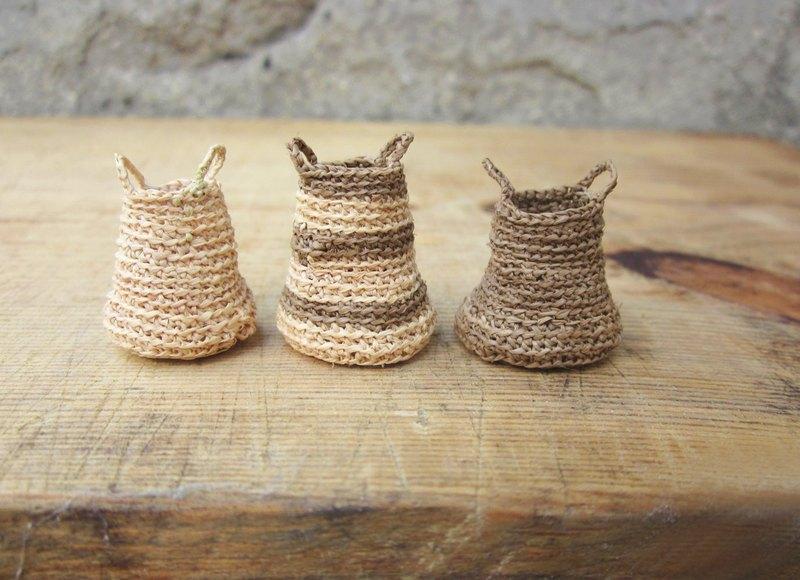 微型筐,廚房裝飾,家居裝飾,手勾,娃娃家,3件套籃子