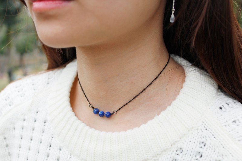 goth - 藍晶小圓珠黑色CHOKER 鎖骨鍊 神秘高貴