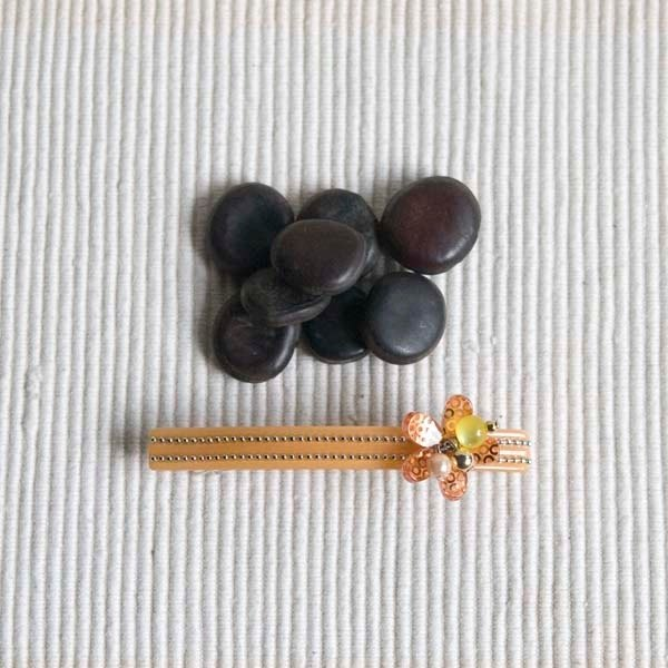 【MITHX】串珠亮片花,9cm自動夾,平夾,髮夾-黃