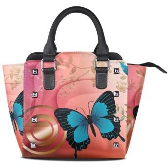 赤い蝶クロスボディバッグレザーハンドバッグサッチェル財布メイクアップトートバッグ女性用女の子