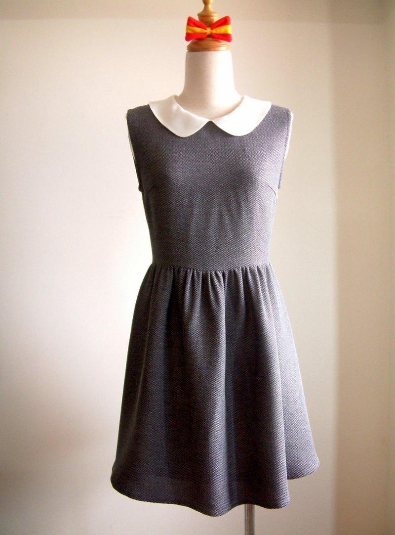 復古無袖洋裝-淺灰