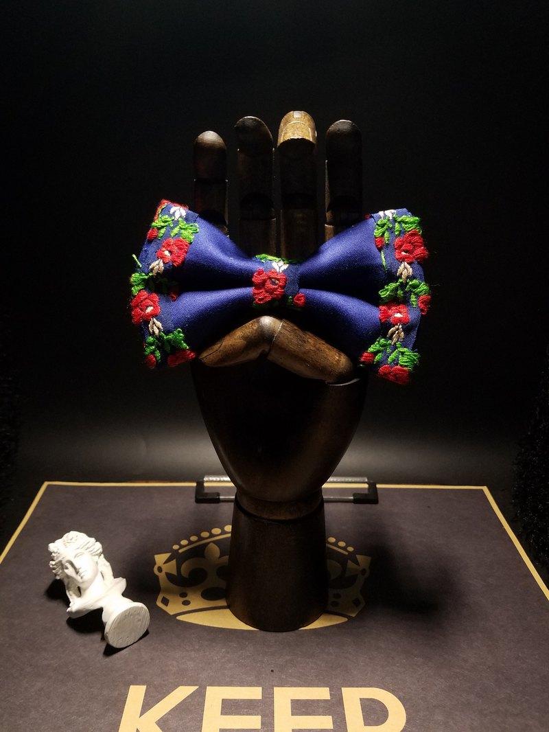 藍色花朵刺繡領結新郎結婚蝴蝶結