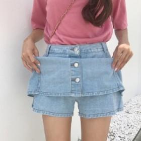 キュロット付きデニム ミニスカートショート パンツ 着やせ ジーンズ レディース デニム ハイウエスト スカート 美脚 ボタン シンプル A