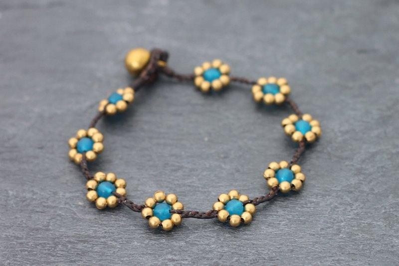 雛菊燈藍色編織手鍊原始黃銅珠可愛民俗