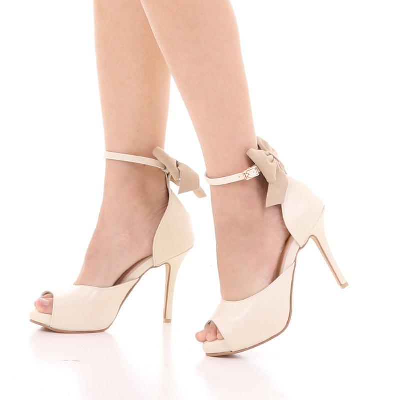 麗貝卡; Joyful Party 高跟鞋,100% 真皮奶油露趾鞋跟