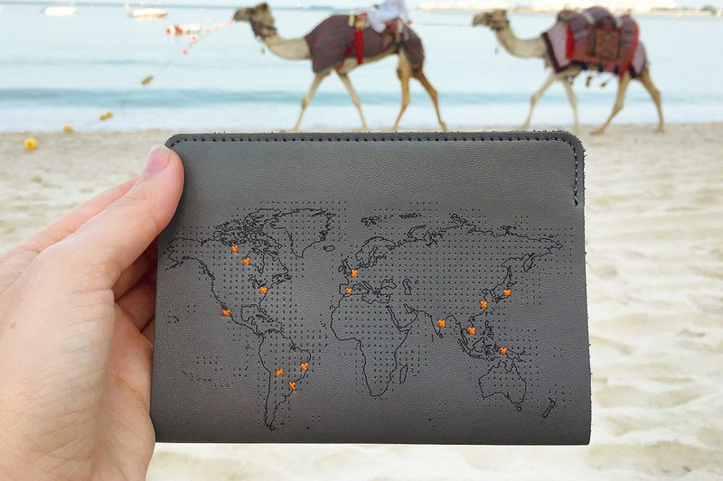 個人專屬 真皮地圖護照套(旅人灰)