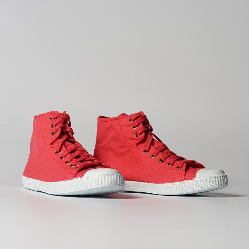西班牙帆布鞋 CIENTA 61997 49 草莓紅色 經典布料 大人 高筒