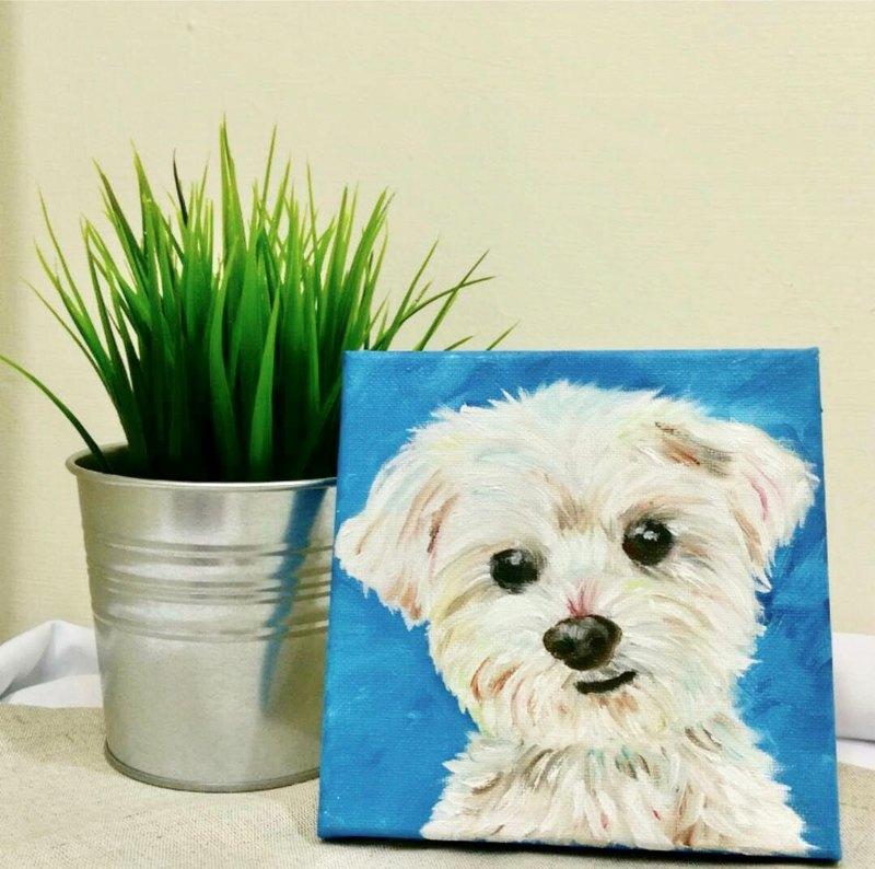 客製寵物畫 正方型油畫(20x20cm)
