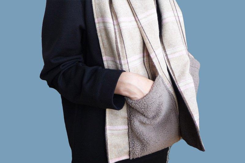冬天好朋友-毛料口袋圍巾三合一(氣質粉)