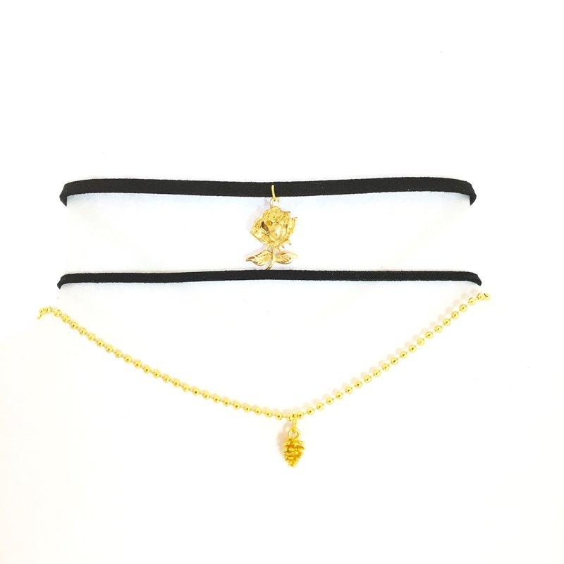 金色松果項鍊&金色玫瑰花頸鍊(一組)