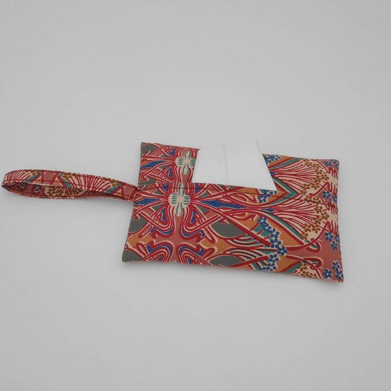 深粉紅圖騰袖珍面紙套