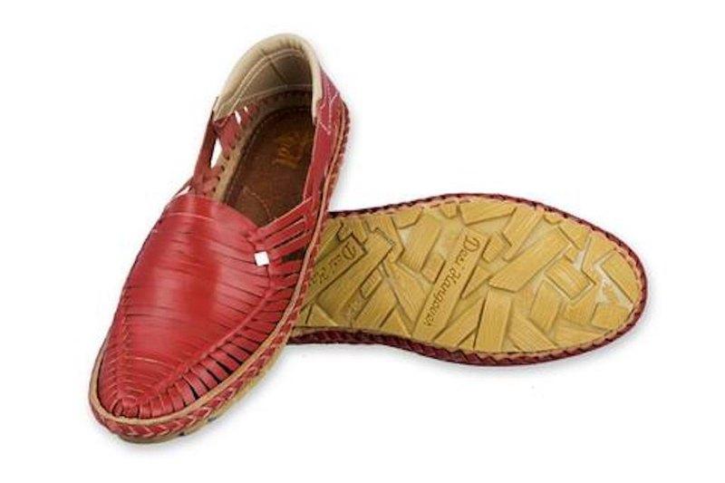 雷伊紅色手工皮革男鞋