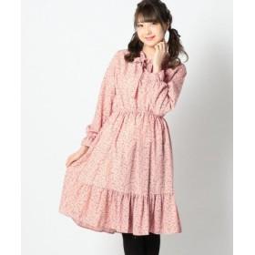 (LODISPOTTO/ロディスポット)裾フリルボウタイワンピース/レディース ピンク