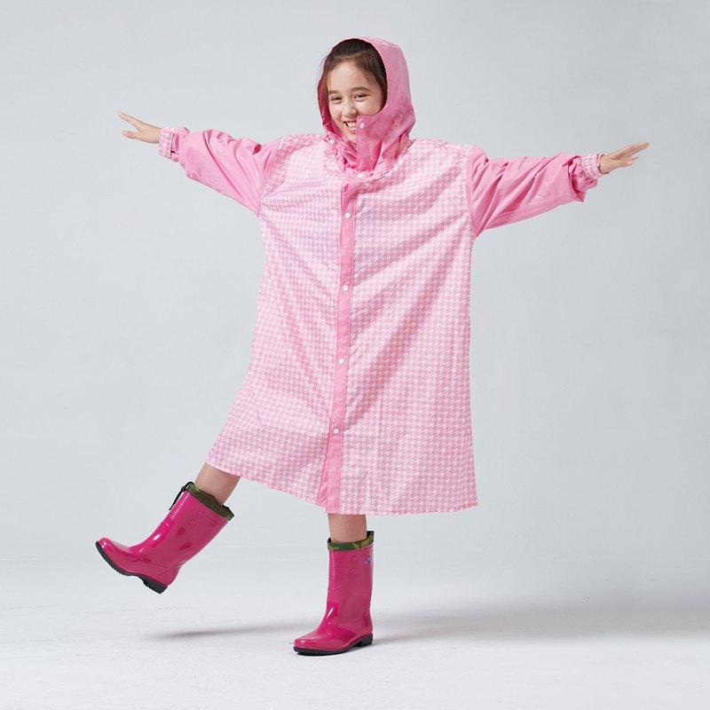 BAOGANI寶嘉尼 B07 兒童雨衣 千鳥格背包(粉紅)