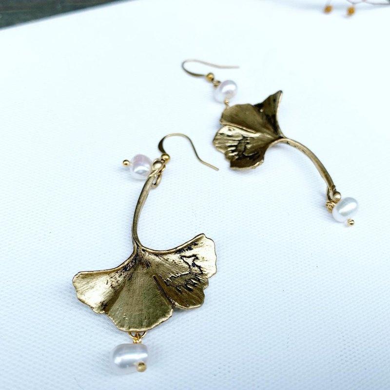 獨家_古銅色大銀杏不規則大顆珍珠天然珍珠垂式耳環_免費修改夾式