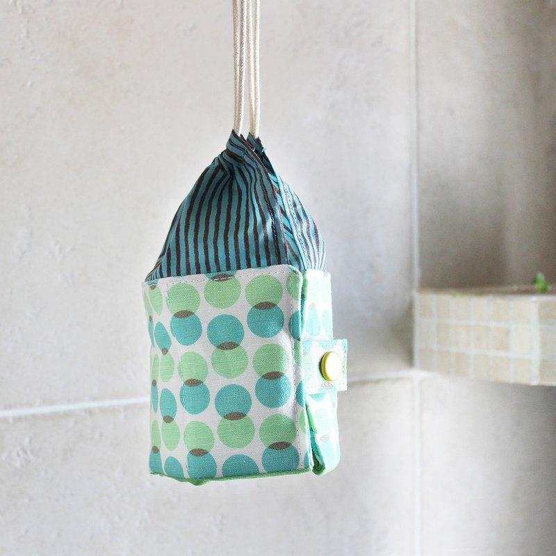 Travel Kit POUCH 小瓶收納包 旅行装或精油 藍綠圓圓直紋格